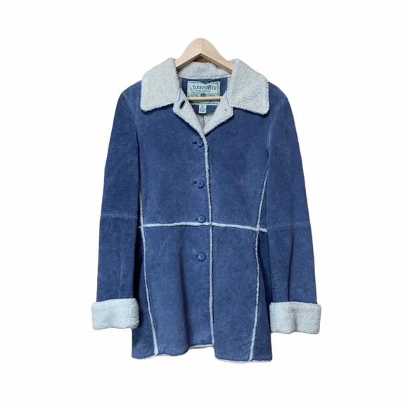 St. John's Bay Light Blue Suede Sherpa Jacket Coat